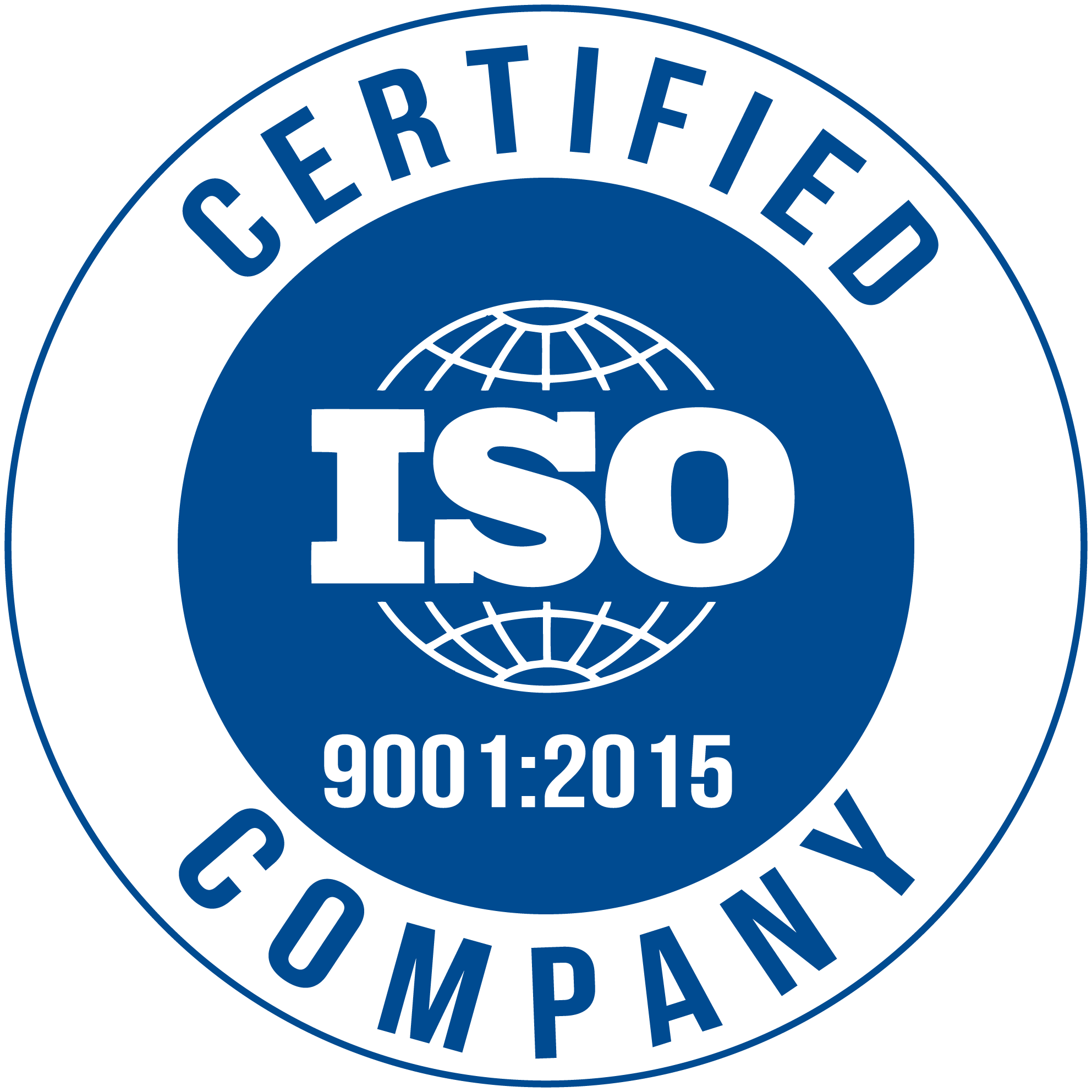 We are an ISO 9001:2015 certified company.
